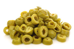 Bunch of cut green olive rings Stock Images
