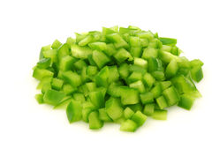 Bunch of cut pieces of green paprika Stock Photography