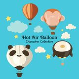 Cute character set of hot air balloon royalty free illustration