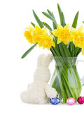 Bunch of daffodils with easter bunny Royalty Free Stock Image