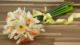 Bunch of daffodils. Bunch of daffodils tied with yellow ribbon Royalty Free Stock Images