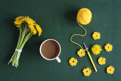 Bunch of dandelions, flowers and coffee Royalty Free Stock Image
