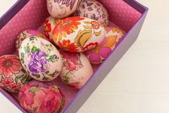 Bunch of decorated Easter eggs in a box Royalty Free Stock Photography