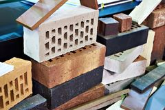 Bunch of different bricks. For construction Stock Image