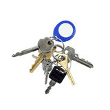 Bunch of different keys with electronic chip token on key ring Royalty Free Stock Photos