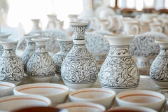 Bunch of different pattern clay  jars Stock Photos