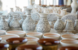 Bunch of different pattern clay  jars Stock Photo