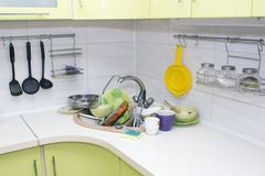 A bunch of dirty dishes in the kitchen. Royalty Free Stock Photography