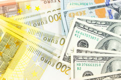 Bunch of dollar and euro bills Royalty Free Stock Images