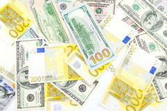 Bunch of dollar and euro bills Stock Photography