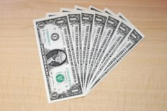 Bunch of dollars. A bunch of one dollar bills Royalty Free Stock Photo