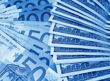 Bunch of dollars and euro Royalty Free Stock Image