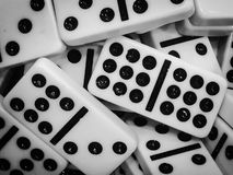 A bunch of dominoes. A black and white photo of a bunch of dominoes royalty free stock photo