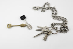 Bunch of door keys with chain isolated on white background Stock Photography