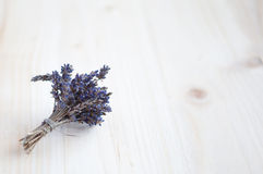 Bunch of dried lavender on a wooden table Royalty Free Stock Photography