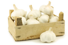 Bunch of dried whole garlic bulbs Stock Photo