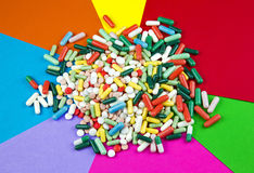 Bunch of drugs on colorful background Royalty Free Stock Photo