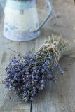 Lavender. Bunch of dry lavender over wood background Stock Images
