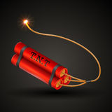 Bunch of dynamite. Red Dynamite  on a black background with burning fuse Stock Images