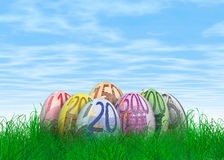 Euro note Easter eggs. A bunch of Easter eggs with Euro note textures Royalty Free Stock Photo