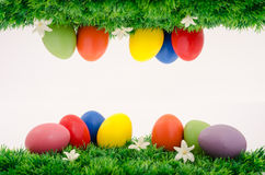 Bunch of easter eggs on grass. Painted colorful easter eggs on grass with white flowers. 2 in 1 easter scenes Stock Images