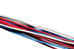 Bunch of electric wires isolated on white. Bundle of multicolored multicoloured electrical wires isolated on white background Stock Images