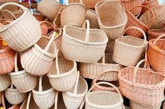 Empty wicker baskets Royalty Free Stock Image