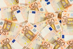 Bunch of Euro Banknotes. Many 50 Euro Banknotes filling the frame royalty free stock images