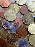 Bunch of Euro coins. Bunch of different coins of European currency royalty free stock image