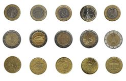Bunch of euro coins of five different nations Stock Photo
