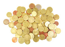 Bunch of euro coins isolated on white background. Royalty Free Stock Photo