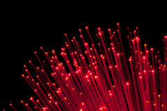 Bunch of Fiber Optic dynamic flying. From deep Stock Image