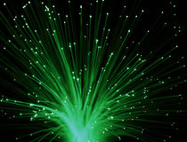 Bunch of Fiber Optic dynamic flying from deep.  Royalty Free Stock Photos