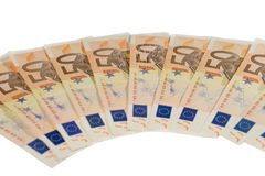 Bunch of fifty euro bills Stock Photo
