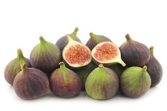Bunch of figs (Ficus carica) and a cut one Stock Photography