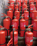 Bunch of fire extinguishers 3d illustrated Royalty Free Stock Images