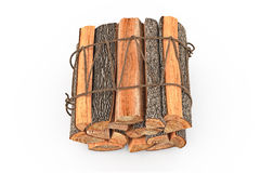 Bunch firewood stack chopped, top view. Firewood bunch stack dry chopped, top view. 3D graphic Royalty Free Stock Photo