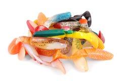 Bunch fishing bait isolated on white Stock Photo