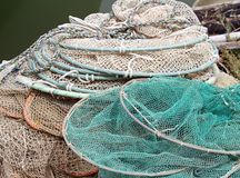 Bunch of fishing nets of fishermen Stock Images