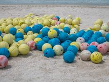 Floating Buoy on a Beach. Floating buoy ball for safety. Bunch of Floating Buoy on a Beach. Floating buoy ball for safety awareness an ocean Stock Photo