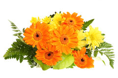 Bunch flower bloom. Bunch  bouquet flower bloom orange yellow green leaf wedding nature isolated background Stock Photo