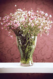 Bunch of flowers. In a glass vase Royalty Free Stock Image