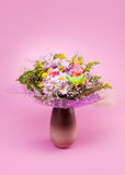 Bunch of flowers. On pink background Royalty Free Stock Images