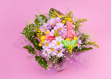 Bunch of flowers. On pink background Royalty Free Stock Photos