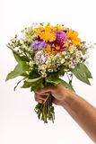 Bunch of flowers. In the man`s hand Royalty Free Stock Images