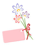 Bunch of flowers with card. Royalty Free Stock Photos