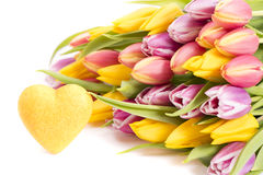 Bunch of flowers with heart Stock Photography