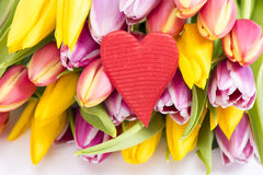 Bunch of flowers with heart Royalty Free Stock Photography