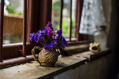 A bunch of flowers next to window Stock Images