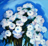 Bunch of flowers, painting on a canvas Stock Photos